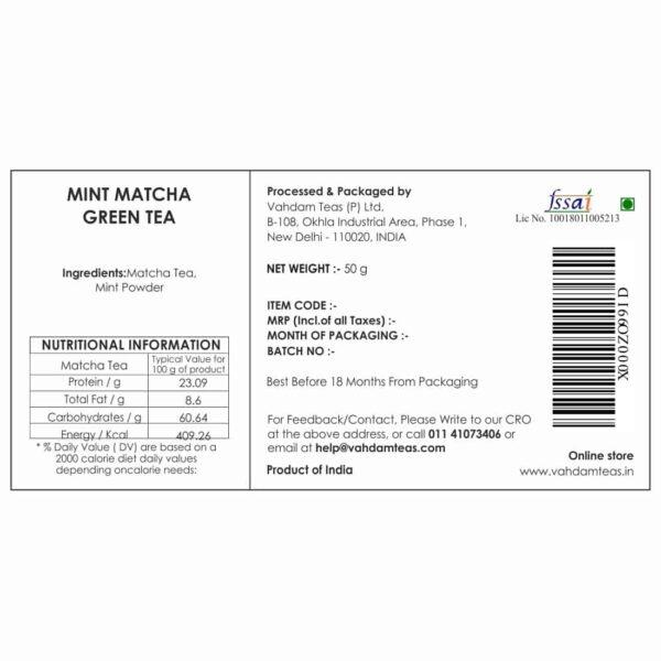 Buy Vahdam Teas - Mint Matcha Green Tea - 50g (100% Natural & Pure) Online