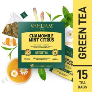 Buy Vahdam Teas - Chamomile Mint Citrus Green Tea - 15 Tea Bags - 30g (100% Natural Ingredients) Online