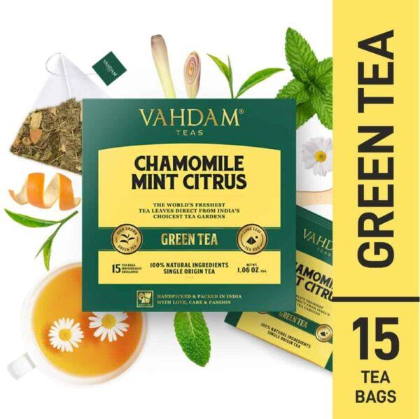 Buy Vahdam Teas - Chamomile Mint Citrus Green Tea - 15 Tea Bags - 30g (100% Natural Ingredients) Online