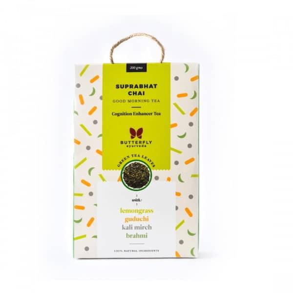 Buy Butterfly Ayurveda - (Lemongrass + Green Tea) Suprabhat Chai - 100g (100% Natural Ingredients   Cognition Enhancer Tea) Online