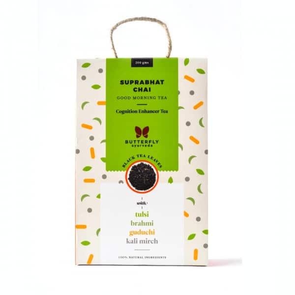 Buy Butterfly Ayurveda - (Tulsi + Black Tea) Suprabhat Chai - 200g (100% Natural Ingredients | Cognition Enhancer Tea) Online