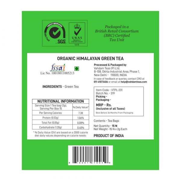 Buy Vahdam Teas - Herbal Himalayan Green Tea - 15 Tea Bags - 30g (100% Natural Ingredients) Online