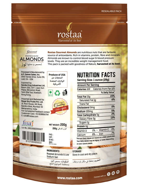 Buy Rostaa - Roasted & Salted Almond Nuts - 200g (High Protein) Online