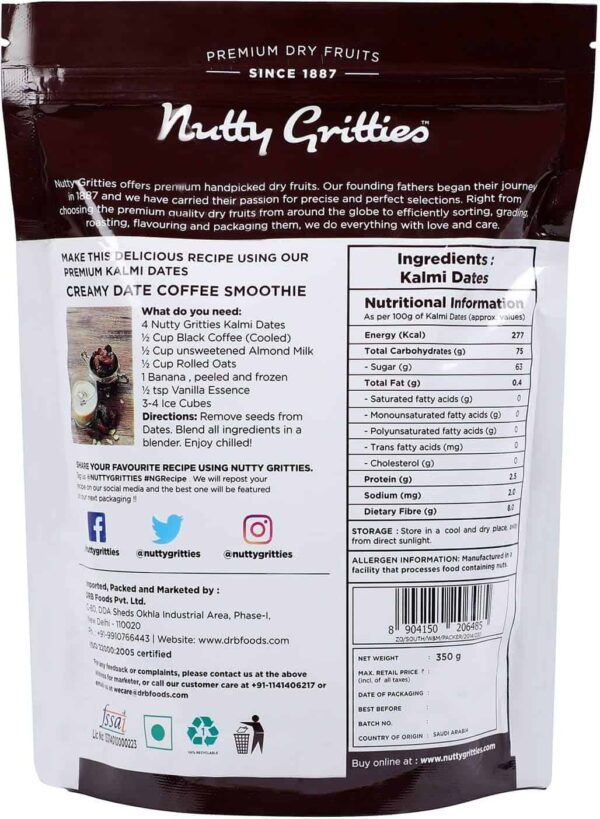 Buy Nutty Gritties - Kalmi Dates Dry Fruit - 350g (100% Natural) Online