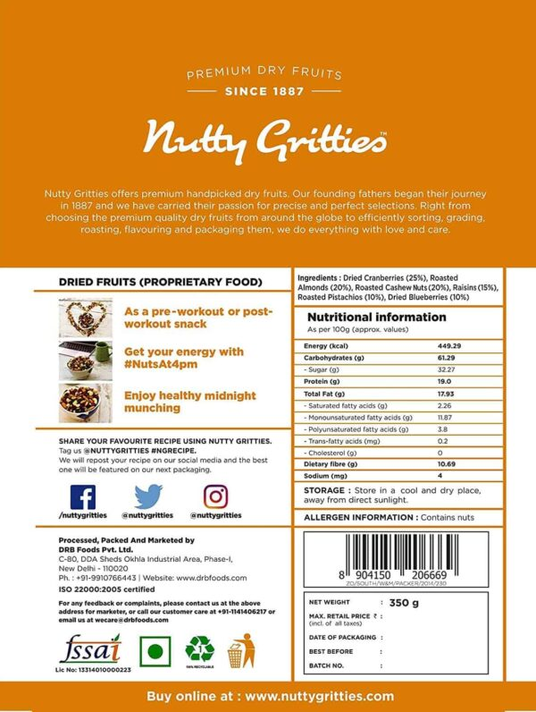 Buy Nutty Gritties - Sports Mix - 350g (100% Natural) Online