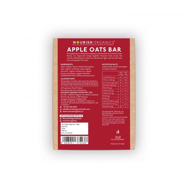Buy Nourish Organics - Apple Oats Snack Bar (pack of 6) - 180g (High Fiber) Online