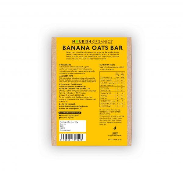 Buy Nourish Organics - Banana Oats Snack Bar (pack of 6) - 180g (High Fiber) Online