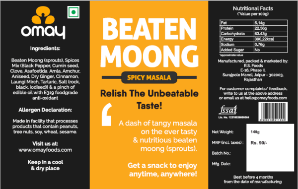Buy Omay Foods - Beaten Moong Snacks - 140g (100% Oil Free | High Protein) Online