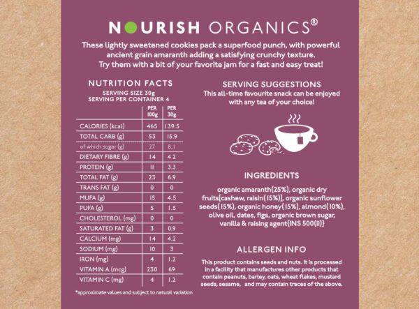 Buy Nourish Organics - Fig Amaranth Cookies - 120g (High Protein) Online