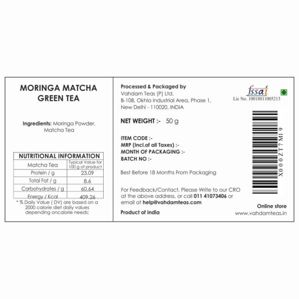 Buy Vahdam Teas - Moringa Matcha Green Tea  - 50g Online