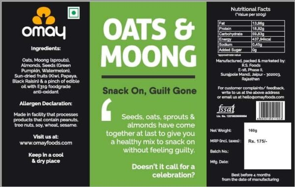 Buy Omay Foods - Oats & Moong - 160g Online