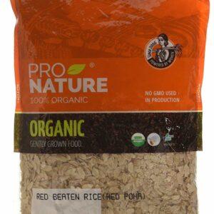Buy Pro Nature - 100% Organic Red Beaten Rice (Red Poha) - 500g Online