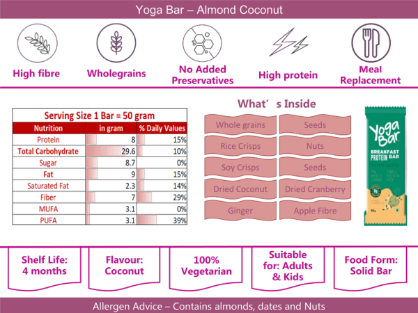Buy Yoga Bar - Chocolate Chunk Nuts Multigrain Energy Bar (Pack of 6) - 228g - (100% Natural Ingredients) Online