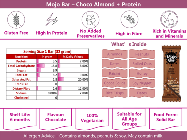 Buy Mojo Bar - Choco Almond + Protein Energy Bar (Pack of 6) - 210g (Gluten Free) Online
