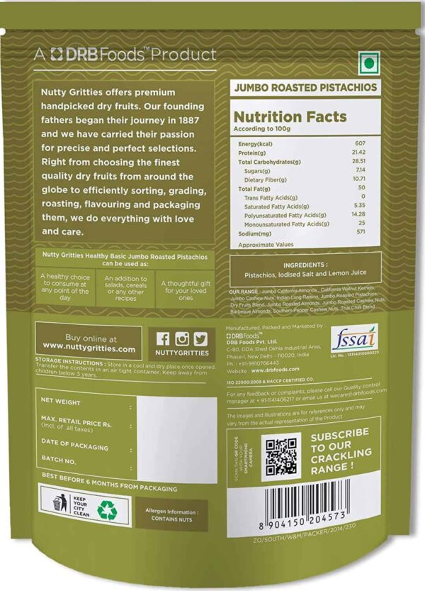 Buy Nutty Gritties - Lightly Salted Jumbo Roasted Pistachios Dry Fruit - 200g (100% Natural) Online