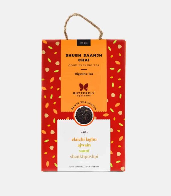 Buy Butterfly Ayurveda - Shubh Saanjh Chai (Elaichi laghu + Black tea) - 100g Online