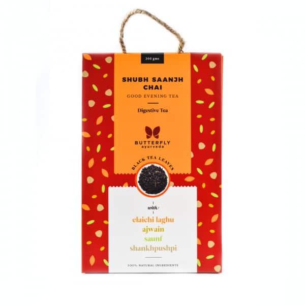 Buy Butterfly Ayurveda - Shubh Saanjh Chai (Elaichi laghu + Black tea) - 200g Online