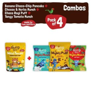 Shop Slurrp Farm – Ragi Snacks Combo Pack of 4 & Banana Choco Chip Pancake Mix with 3 Non Fried Puffs - 210g (100% Natural) Online