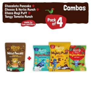 Shop Slurrp Farm - Ragi Snacks Combo Pack of 4 & Chocolate Pancake Mix with 3 Non Fried Puffs - 210g (100% Natural) Online