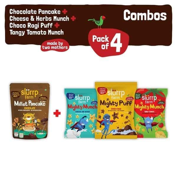 Buy Slurrp Farm - Ragi Snacks Combo Pack of 4 & Chocolate Pancake Mix with 3 Non Fried Puffs - 210g (100% Natural) Online