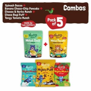 Shop Slurrp Farm - Protein Breakfast Combo Pack of 5, Spinach Dosa Mix, Choco-Chip Pancake Mix & Pack of 3 Puffs - 360g Online