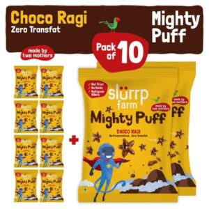 Shop Slurrp Farm - Choco Ragi Flavor Mighty Puffs Snacks Party Pack of 10 - 200g - (100% Natural | Non Fried)) Online