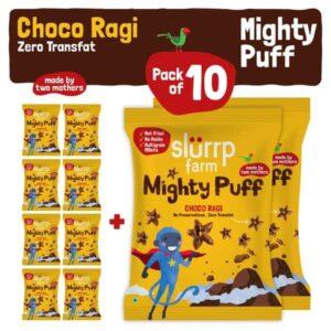Slurrp Farm Mighty Puffs Choco Ragi Flavor Snacks Party Pack