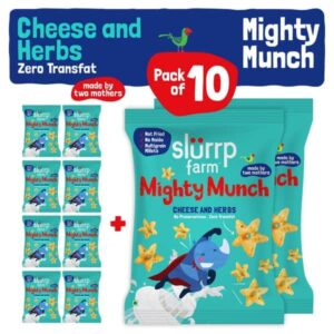 Shop Slurrp Farm - Healthy Snacks - Mighty Puff, Cheese & Herbs Flavor - Party Pack of 10 Online