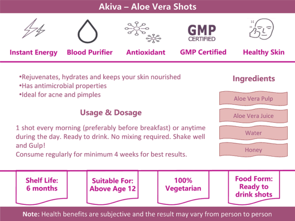 Buy Akiva - Aloe Vera Ready To Drink Shots Pack of 15 - 600ml (Skin Glow | GMP Certified) Online