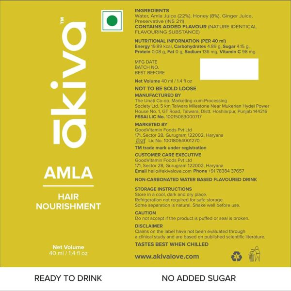 Buy Akiva - Amla Ready To Drink Shots Pack of 15 - 600ml (Vitamin C   GMP Certified) Online