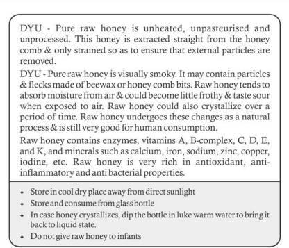 Buy DYU - Pure Raw Honey - 225g Online