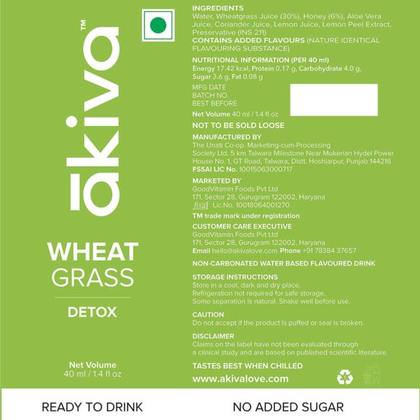 Buy Akiva - Wheatgrass Ready To Drink Shots Pack of 15 - 600ml (Detox | GMP Certified) Online