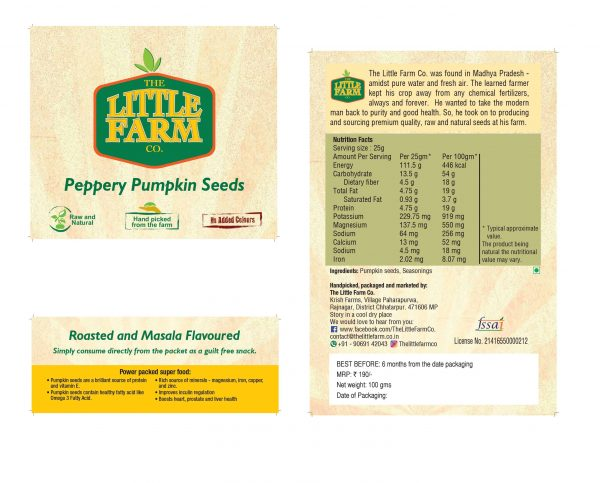 Buy The Little Farm Co - Raw Peppery Pumpkin Seeds - 100g (High Protein) Online