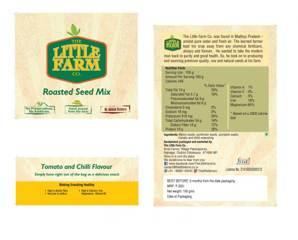 Buy The Little Farm Co - Tomato And Chilli Flavor Roasted Mixed Seeds - 100g (High Protein) Online