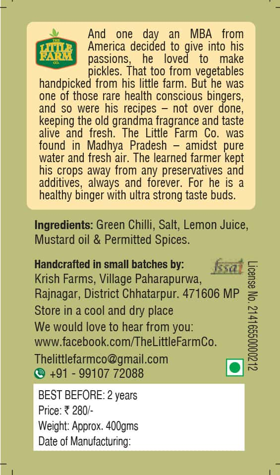 Buy The Little Farm Co - Green Chilli Pickle - 400g (100% Natural | No Additives | No Preservatives) Online