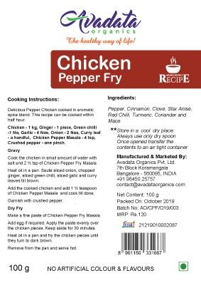 Buy Avadata Organics - Chicken Pepper Fry Mix - 100g (100% Organic) Online