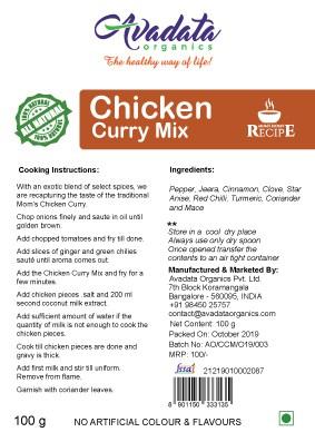 Buy Avadata Organics - Chicken Curry Mix - 100g (100% Organic) Online