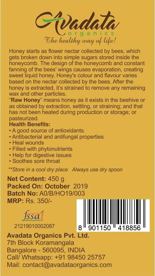 Buy Avadata Organics - Raw Honey - 450g Online