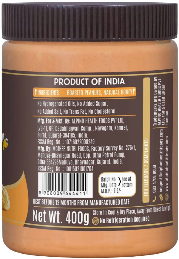 Buy Alpino - Natural Honey Crunch - Peanut - Nut Butter - 400g Online