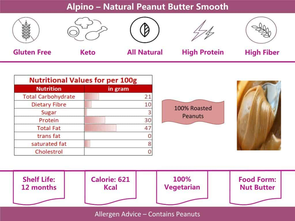 alpino natural smooth peanut butter 400g info