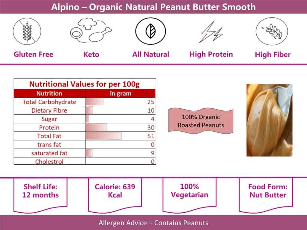 alpino smooth peanut butter organic 400g info