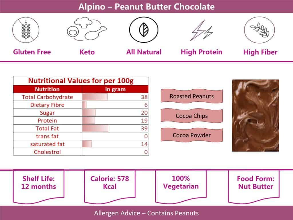 alpino chocolate peanut butter 400g info