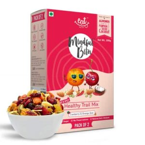 Shop EAT Anytime - Cranberries & Orange Zest with Dry Fruits & Nuts Trail Mix (Pack of 2 x 100g) - 200g (Healthy | High Protein) Online