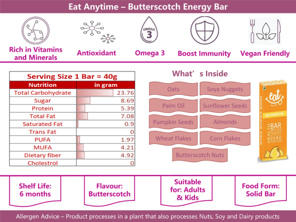 Buy EAT Anytime - Butterscotch Energy Bars (Pack of 6) - 240g Online