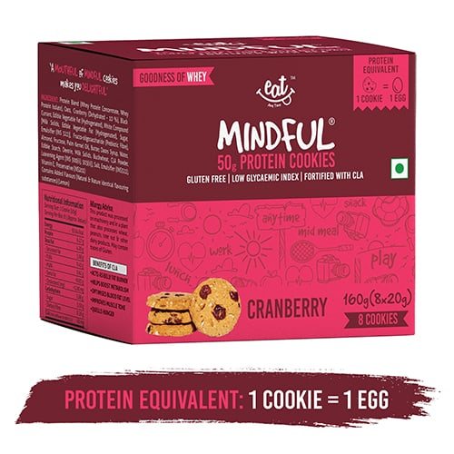 Buy EAT Anytime - Cranberry Protein Cookies (Pack of 8) - 160g (Gluten Free) Online