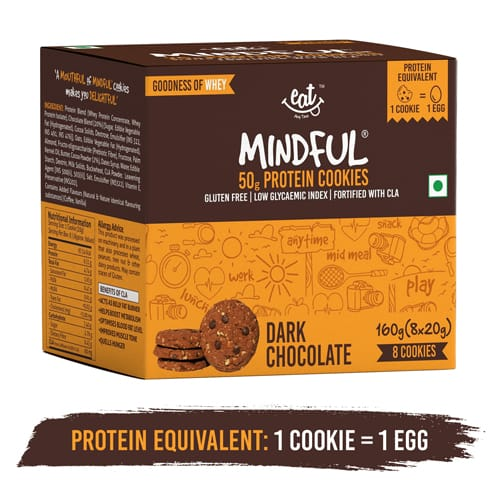 Buy EAT Anytime - Dark Chocolate Protein Cookies (Pack of 8) - 160g (Gluten Free) Online