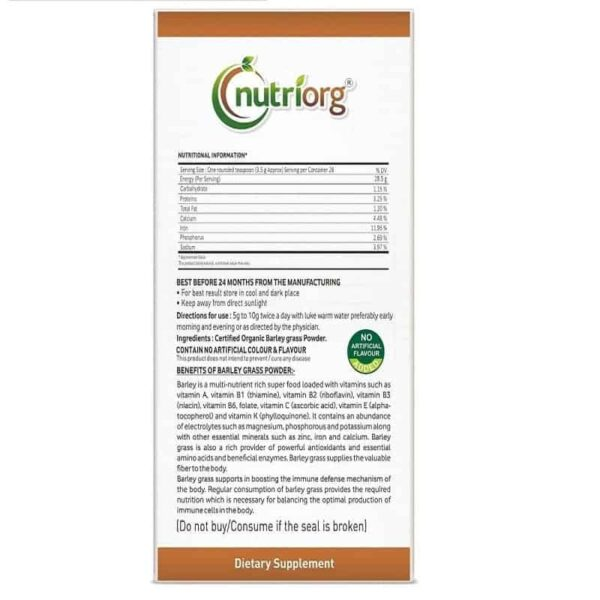Buy Nutriorg - Spirulina Powder Dietary Supplement -100g (Organic | 100% Natural) Online