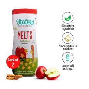 Shop Timios - Wholegrain Non Fried Apple & Cinnamon Melts Snacks - 50g Online