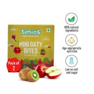 Shop Timios - 100% Natural Mini Oaty Bites Apple & Kiwi Energy Bars Pack of 2 - (2x120g) Online