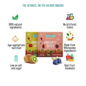 Shop Timios - 100% Mini Oaty Bites Apple & Kiwi + Nuts & Berries Energy Bars Combo - (2x120g) Online